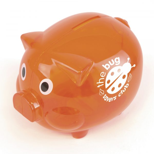 Plastic piggy bank. Available in 10 translucent colours and a solid white.
