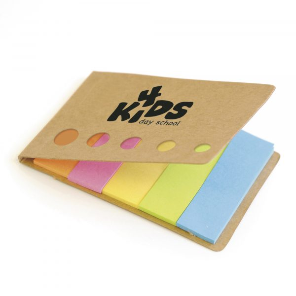 Paper matchbook style flag holder with 5 colours of paper flags.