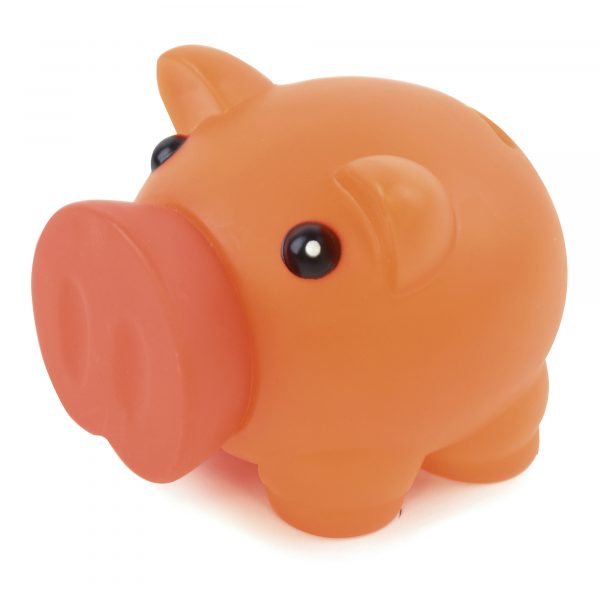 Rubber nosed piggy bank with soft feel body. Available in various colours.