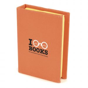 Small Hard Back Book with sticky notes and five coloured flags. Available in 10 colours.
