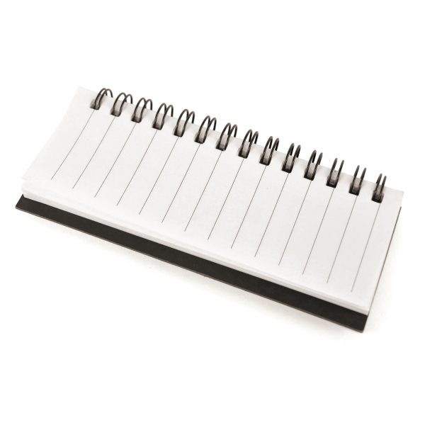 Spiral bound notepad with flags, sticky notes and ruler. A great little portable notebook combination.