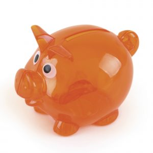 Mini plastic piglet bank with pointy ears and a curly tail. Empty using the twist base cap. Available in 8 colours