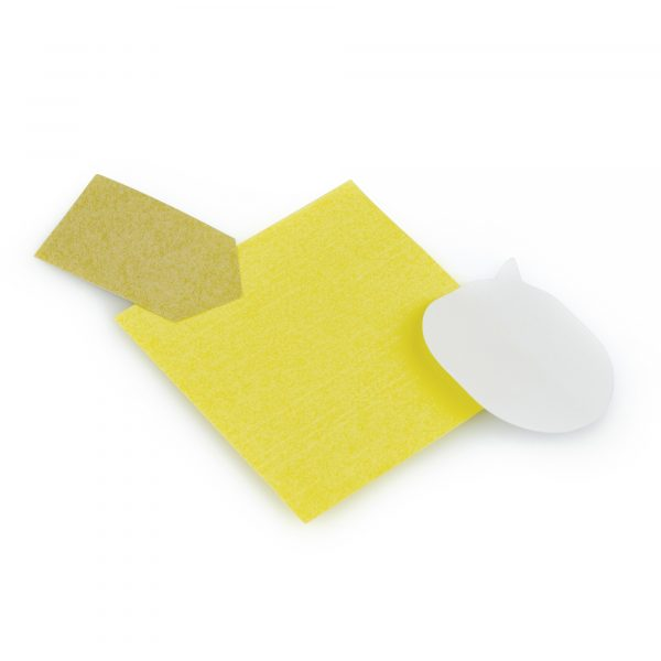 Desk set with yellow square, white speech bubble and natural arrow shaped sticky notes housed in a small PVC zip-close wallet. Available in white.