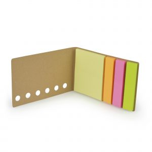 Recycled paper flip open sticky note set with large square yellow sticky notes and three sets of coloured flags in amber, pink and green.