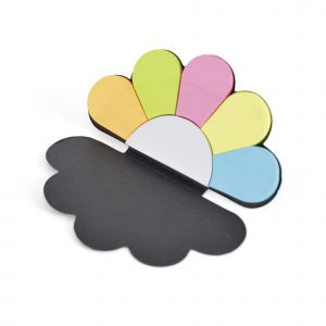 Cloud shaped card booklet housing 6 colours of small sticky flags. Available in black and natural.