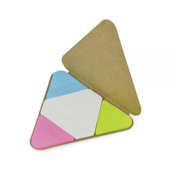 Sticky note set with green, pink, blue and white sticky notes with triangular shaped card cover. Available in natural and black