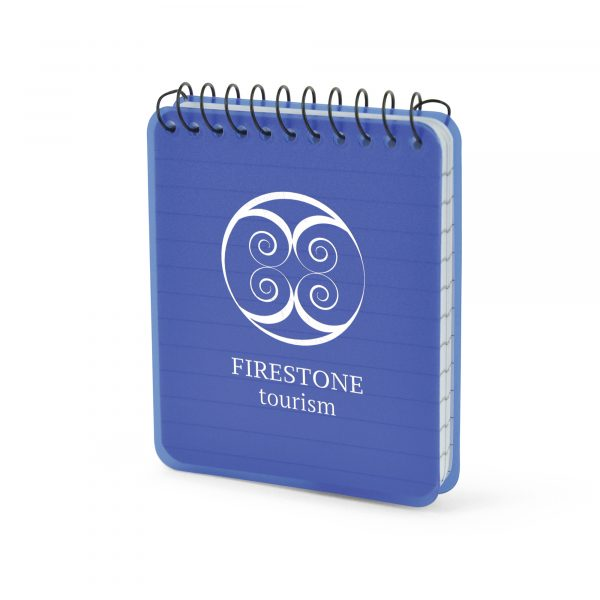 40 sheet mini spiro bound lined notebook with PP plastic cover. Available in red, blue or translucent.