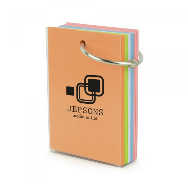 150 sheet memo pad block bound with a metal ring attachment and secured together in a plastic casing. Available in translucent.