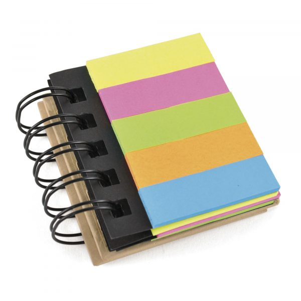 Spiral bound eco flag and sticky notepad. 5 flag colours and 3 sticky note colours, bound in a recycled paper cover.