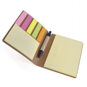 Eco-friendly notebook with sticky notes, flags and pen. All housed in recycled paper folder.