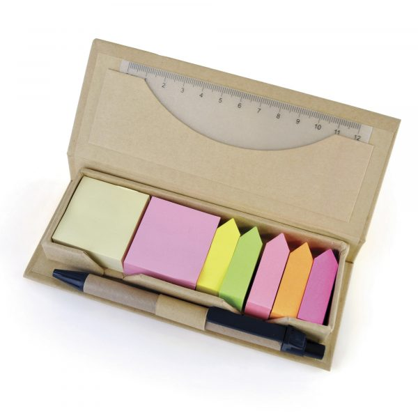 Eco-friendly desk set. Including sticky notes, flags, ruler and pen. All housed in a stylish recycled paper box.