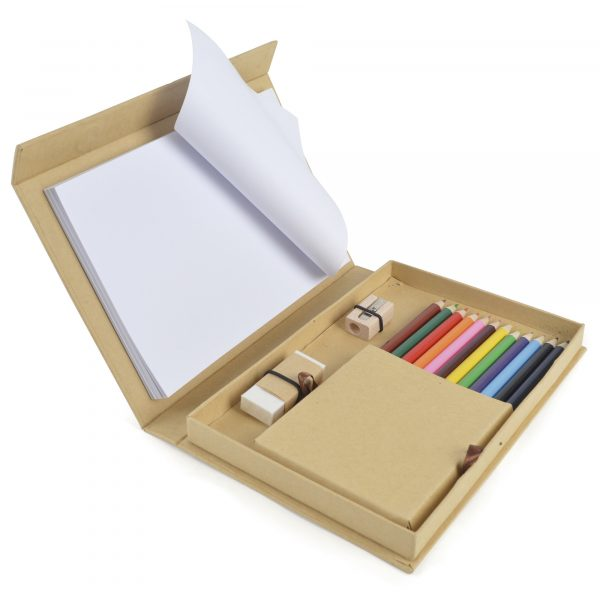 Natural fold out desk set with 12 coloured pencils, eraser, pencil sharpener and plain white paper pad holding approx. 50 sheets