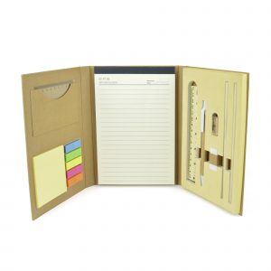 Hard backed natural fold-out stationary set including a wooden ruler, two pencils, eraser, sharpener, pen, lined notepad, plastic ruler, yellow sticky notes and 5 colours of flags. Available in natural.