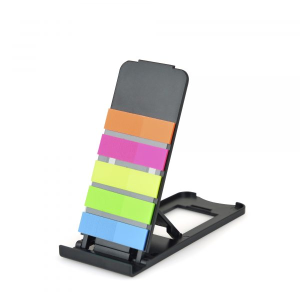 Collapsible plastic mobile/tablet stand with 5 colours of flags built-Ink A great on the desk accessory. Available in black.