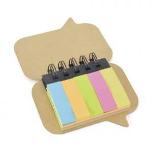 Spiral bound flag and sticky notepad in the shape of a speech bubble with 5 sets of coloured flags and 3 sets of sticky notes.