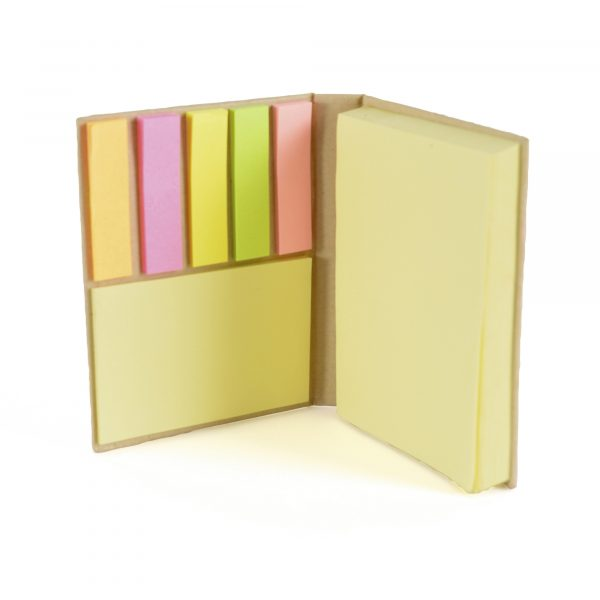 Small hard back book with sticky notes in 2 sizes and 5 colours of flags.