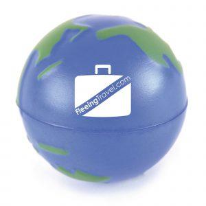 60mm diameter globe shaped stress ball.