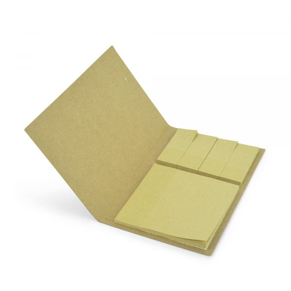 Recycled paper flip open sticky note set with natural large stick notes and four sets of natural flags. Available in natural.