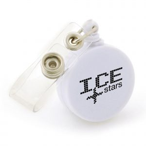 Round retractable ski pass holder. Belt clip included