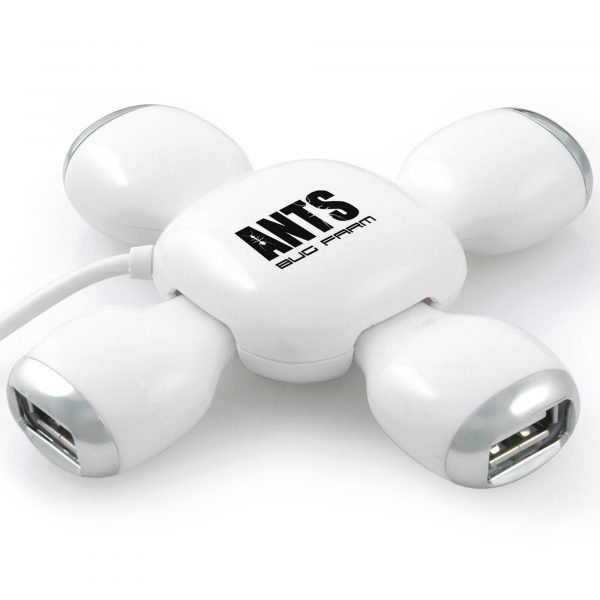 White turtle shaped 4 port USB hub with folding legs. USB 2.0 speed and features a 50cm cable.