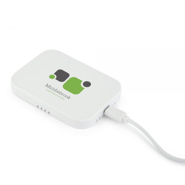 Solid white cuboid wireless charger supplied with a USB cable. Will charge most QI enabled devices. Available in white.