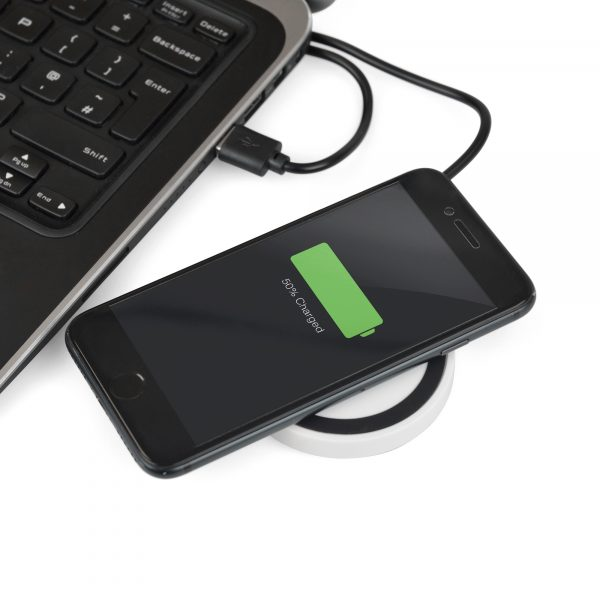Wireless QI mobile phone charger supplied with a USB cable and complete with black silicone ring. Will charge most QI enabled devices.