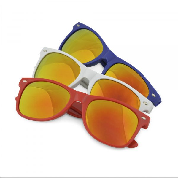 Mirrored sunglasses one size. Brand area on one arm. Available in white, red and blue with multi coloured mirror effect lenses.