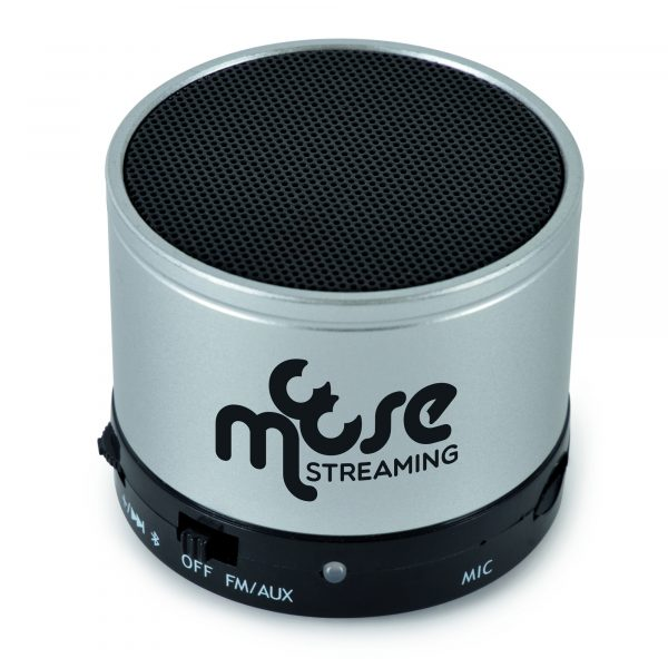 Bluetooth speaker with 2-in-1 cable with mini USB, USB mad 3.5mm headphone jack, micro SD card slot, built-in microphone and operates to a distance of approx. 10m unobstructed. Recharges via USB and user manual is included. Packaged in a black box. Available in silver.
