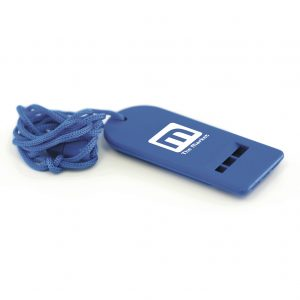 Flat plastic whistle with neck cord. Available in three colours.