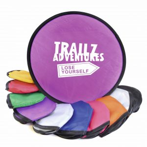 Folding nylon flying disc in pouch. Available in a variety of colours.