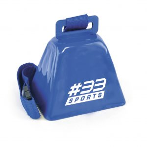 Metal cow bell with lanyard and safety break. Available in 3 colours with matching lanyard.