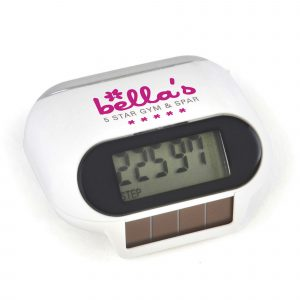 Solar powered pedometer with step counter, distance in miles and calorie counter function. Batteries included.