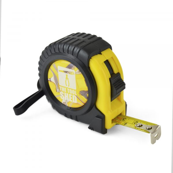 3m/10ft ABS and PVC plastic measuring tape with carry handle, belt clip and side lock button. Marked out in centimetres and inches. Available in yellow with black trim.