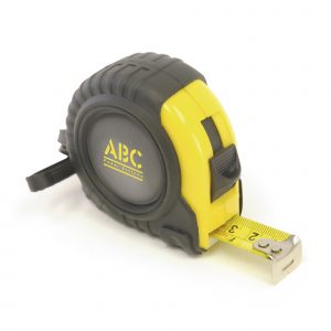 5 metre Heavy duty rubber tape measure with clip. ABS plastic. TRP rubber cover. Steel blade. (DOMING ONLY).