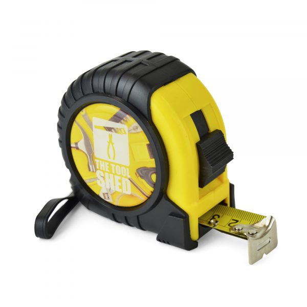 7.5m/25ft ABS and PVC plastic measuring tape with carry handle, belt clip and side lock button. Marked out in centimetres and inches. Available in yellow with black trim.