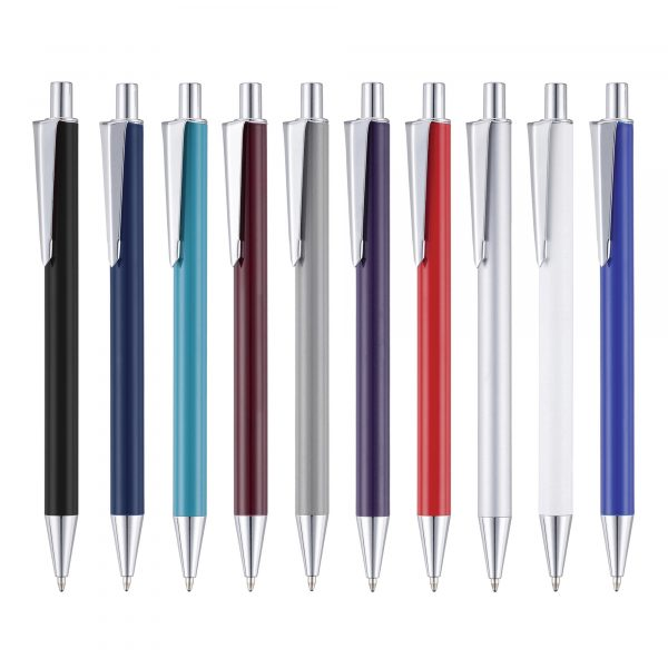An attractive push action ball pen with unique clip available in an array of vibrant colours.