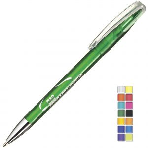 A transparent twist action plastic pen with a metal nose cone. Plastic parts can be supplied in the colour blocks to the right. Black or Blue ink.