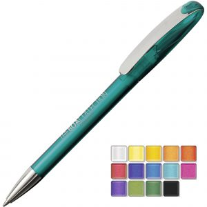 A transparent twist action plastic pen with a metal nose cone and clip. Both parts can be supplied in the colour blocks to the right. Black or Blue ink.