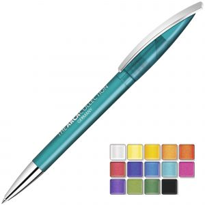 Twist action plastic pen with a metal nose cone and clip. Both plastic parts can be supplied in the colour blocks to the right. Black or Blue ink.