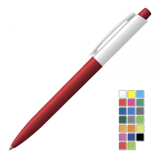 A quality solid gloss retractable pen . All plastic parts can be supplied in the colour blocks to the right. Black or Blue ink.