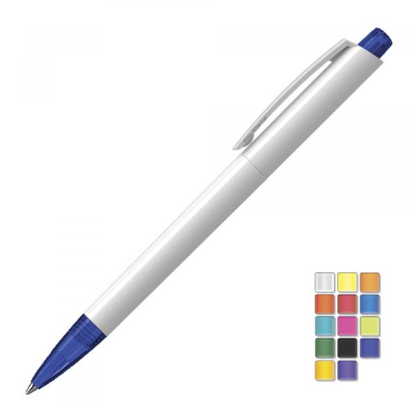 A quality retractable ball pen with solid barrel and translucent nose cone and plunger . All plastic parts can be supplied in the colour blocks to the right. Black or Blue ink.