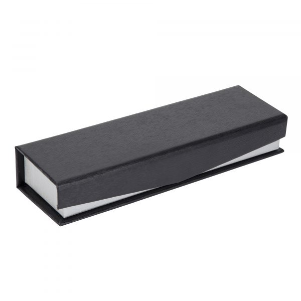 A textured two tone exterior and velvet feel interior gives this box a really prestigious feel. Also includes a fold over cover with a magnetic catch. Black with silver trim.