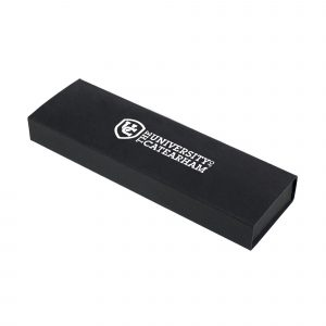 Slide out presentation case with soft cushion base to hold pen in place. Suitable for 1 or 2 pens – the best value box around!