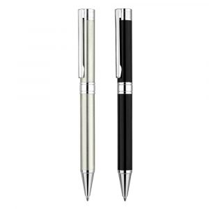Admiral with hinged clip BP – A prestigious and substantial metal pen with a hinged clip for an executive feel. The black is undercoated chrome for a mirror chrome finish when engraved. (engraving is at an additional cost