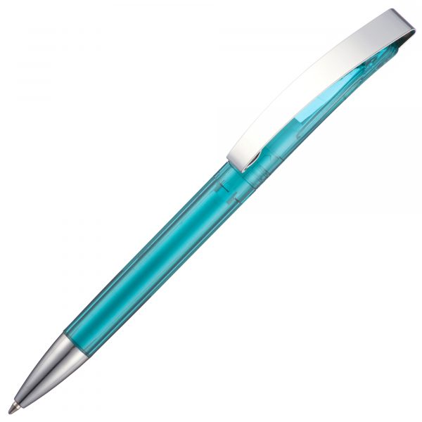 A twist action pen with a metal clip available in vibrant transparent colours. Features a large print area to the barrel.