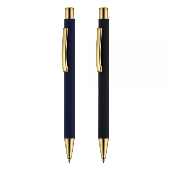 An executive soft feel push action ball pen with striking gold trims and beautiful gold engraving to match.