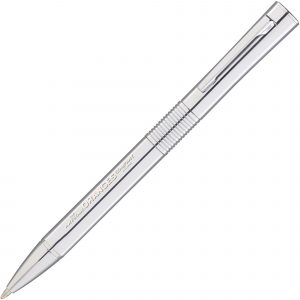 A modern-look, twist action ball pen with Hi-Chrome finish offered as engrave only marking option. Can be supplied on its own or as a set with the matching roller pen.