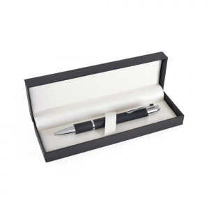 A hinged lid with cushioned interior - truly prestigious. Price is unprinted. Also available as a double pen box.