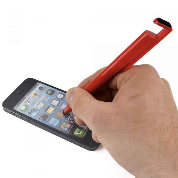 A truly useful pen! A twist action ball pen with a stylus, phone holder and screen cleaner.
