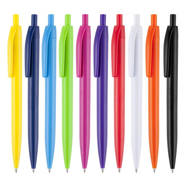 A low cost click action pen with a wide range of vibrant solid colours make for a low-cost 'stand out' pen! Has a great print area to the barrel
